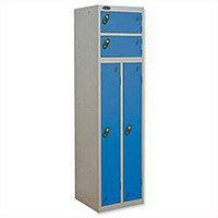 2 Person Locker Silver Body Blue Doors Probe