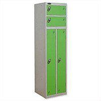 2 Person Locker Silver Body Green Doors Probe