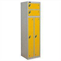 2 Person Locker Silver Body Yellow Doors Probe