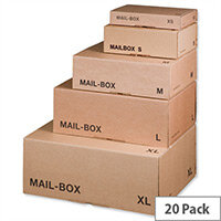 Smartbox Mailing Cartons Easy Assemble S 250x175x80mm Brown Pack 20