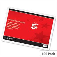 5 Star A7 Laminating Pouches Glossy 250 Micron Pack 100