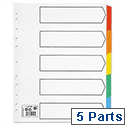 5 Part Coloured Tab White Index Extra Wide A4 White 5 Star