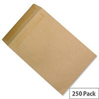 5 Star Office Pocket Envelopes Recycled Mediumweight Self Seal 90gsm Manilla 381x254mm Pack 250