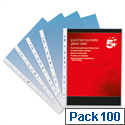 A4 Punched Pockets Plastic Clear Deluxe 70 Micron Pack 100 5 Star