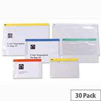 A5 Zip Filing Bags PVC Clear Assorted Pack 30 5 Star