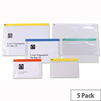 A3 Zip Filing Bags PVC Clear Assorted Pack 5 5 Star