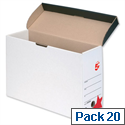 Transfer Case Hinged Lid Foolscap White and Black Pack 20 5 Star