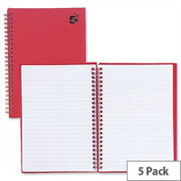 5 Star A5 Wirebound Manuscript Book 160 Pages Red Pack 5