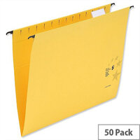 Yellow Suspension Files Foolscap with Wrapover Bar Tabs and Inserts 5 Star Pack 50