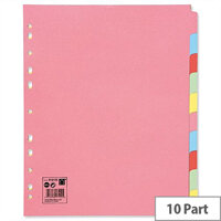 10 Part Extra Wide Subject Dividers A4 Assorted 5 Star
