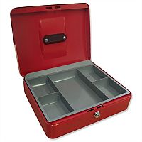 5 Star Key Lock Cash Box Compact 8 Inch 200x160x70mm Red 5 Coin Compartments