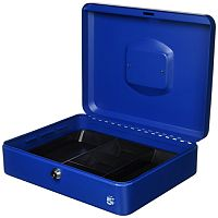 5 Star Key Lock Cash Box Large 12 Inch 300x240x70mm Blue 5 Coin Compartments