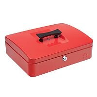 5 Star Key Lock Cash Box Large 12 Inch 300x240x70mm Red 5 Coin Compartments