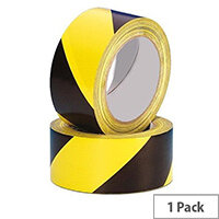 50mm x 33m Black/Yellow Hazard Floor Tape HWT50YB