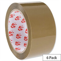 Packing Tape Low Noise Polypropylene 50mm x 66m Buff 6 Pack 5 Star