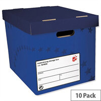 5 Star Archive Storage Box Foolscap Superstrong Blue 10 Pack