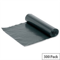5 Star Medium Duty Bin Bags 95 Litre On-The-Roll Black Box 300