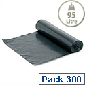 Medium Duty Bin Bags 95 Litre On-The-Roll Black Box 300