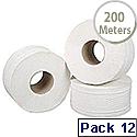5 Star Jumbo Dispenser Roll 2-ply Sheet Size 9 x 38cm Roll Diameter 200m Pack 12