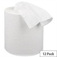 5 Star Centrefeed Paper Tissue Refill Rolls for Dispenser White 1-ply 120m (12 Rolls)