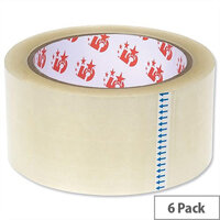 5 Star Packing Tape Roll Polypropylene Low Noise 50mmx66m Clear (6 Pack)