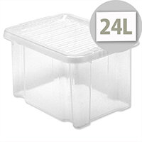 Plastic Storage Box Stackable 24 Litre Lid Clear 5 Star