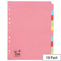 10 Part Extra Wide Assorted Subject Dividers A4 Pack 10 5 Star