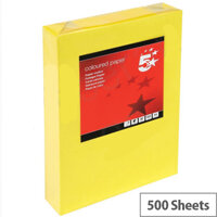 5 Star Deep Yellow A4 Paper Multifunctional Ream-Wrapped 80gsm 500 Sheets