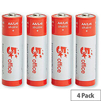 5 Star Office  AA  LR6 Alkaline Batteries  Pack of 4