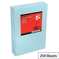 5 Star Office Medium Blue A4 Paper Multifunctional Coloured Card 160gsm 250 sheets