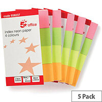 5 Star Office Index Flags Neon 20x50mm 50 Sheets per Colour Assorted  Pack 5