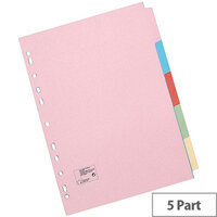 5 Star Office Subject Dividers Multipunched Manilla Card 5-Part A5 Assorted