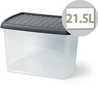 5 Star Elite 21.5 Litre Plastic Storage Clip Box Clear with Black Lid