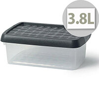 5 Star Elite 3.8 Litre Storage Clip Box Clear Plastic Stackable with Lid