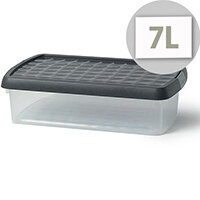 5 Star Elite 7 Litre Storage Clip Box Clear Plastic Stackable with Lid