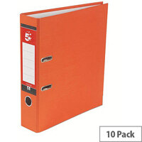 5 Star Office A4 Lever Arch File 70mm Orange Pack of 10