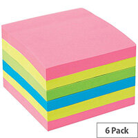 5 Star Office 76x76mm Extra Sticky Re-move Notes 4 Assorted Neon Colours 90 Sheets Per Pad Pack of 6 Pads