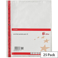 5 Star Office A4 PVC Top-Opening 75 Micron Expanding Punched Pocket Clear with Red Strip Pack of 25
