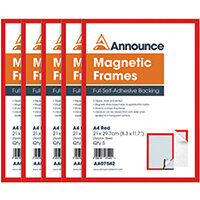 Announce Magnetic Frames A4 Red Pack of 5 AA07542