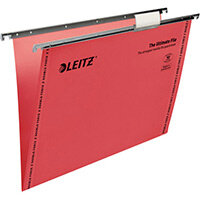 Leitz Ultimate Clenched Bar Suspension Files Foolscap V-Base Red Pack of 50