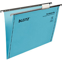 Leitz Ultimate Clenched Bar Suspension Files Foolscap V-Base Blue Pack of 50