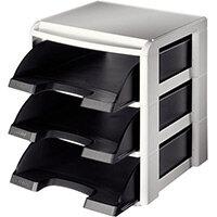 Leitz Plus Letter Tray Rack Grey & Black