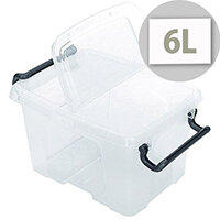 Strata Smart Storage Box With Clip On Lid 6 Litres Clear. Stackable Or Nested When Empty. Supplied With Hinged Clip-On Lid That Opens At Each End. Suitable For Schools, Offices, Warehouses, Domestic Use & More.