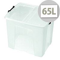 Strata Smart Storage Box Clear 65 Litre With Integrated Handles For Easier Carrying. Box Is Stackable Or Optionally Nested When Empty. Ideal For Warehouses, Offices, Schools, Domestic Use & More.