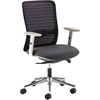 Arcade Black Mesh Back Operator Chair With Black Fabric Seat, Grey Frame And Chrome Base