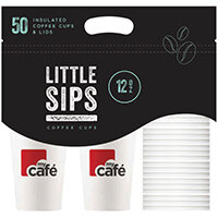 MyCafe Cups Caddy 12oz Cups and Lids Pack of 50 HVDWCP12MC