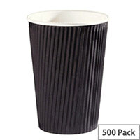 4Aces 12oz/350ml Black Ripple Disposable Hot Drink Paper Cups [Pack of 500]