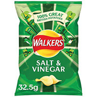 Walkers Salt and Vinegar Crisps 32.5g Pack of 32 121795