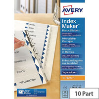 Avery Index Maker A4 10-Part White Unpunched Divider Ref 01816061