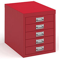 Bisley multi drawers with 5 drawers - red